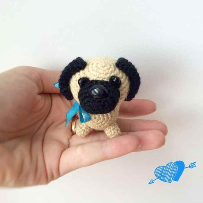 Knitted Pug Pattern : Little Pug Dog amigurumi pattern - Amigurumi Today
