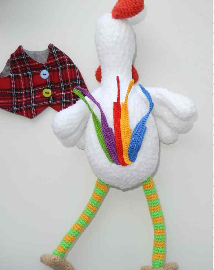 Amigurumi funny rooster crochet pattern - tail