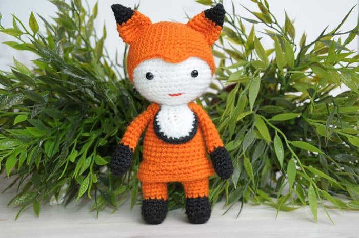 Amigurumi doll in fox costume crochet pattern