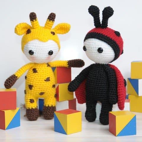 Amigurumi doll in ladybug dress - free crochet pattern