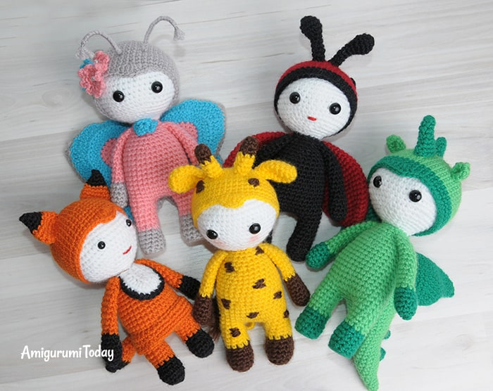 Amigurumi dolls in animalistic costumes