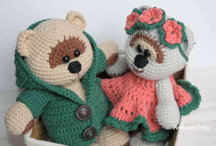 Honey teddy bears in love - free crochet patterns