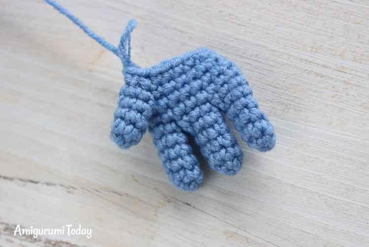 Crochet Smurf amigurumi pattern - palm