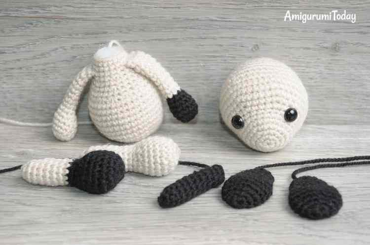 Tommy the Dog crochet pattern - assembly