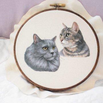 Вышивка двух котиков