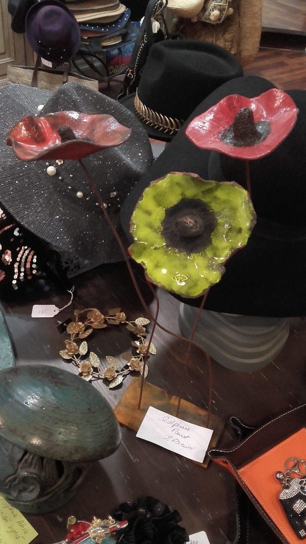Sculpture en métal Fleurs