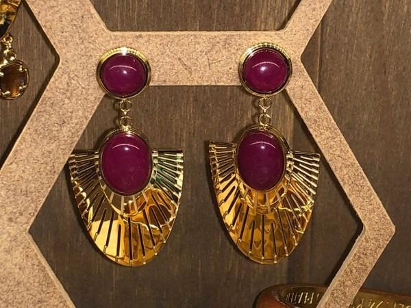 Boucles d'oreilles type égyptien : couleur prune
