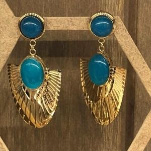Boucles d'oreilles type égyptien : couleur turquoise
