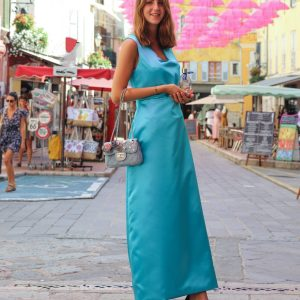 Merveilleuse robe turquoise July of St Barth Couture