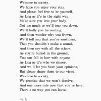 Welcome to Society, by Erin Hanson