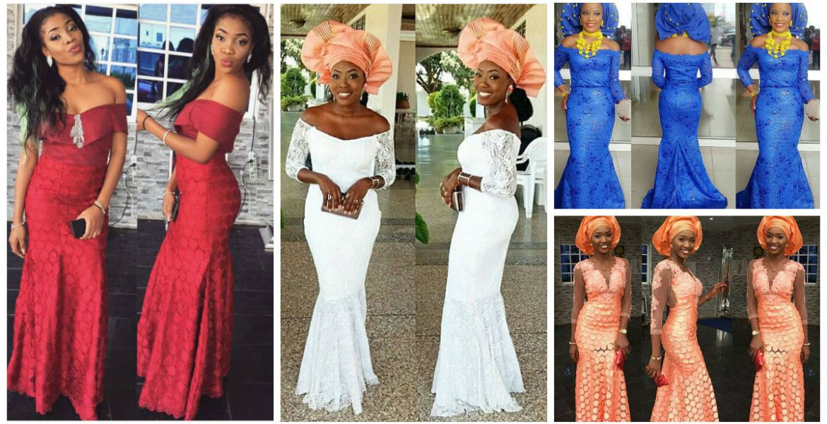 Colorful Aso Ebi In Lace Long Gown Lookbook #10