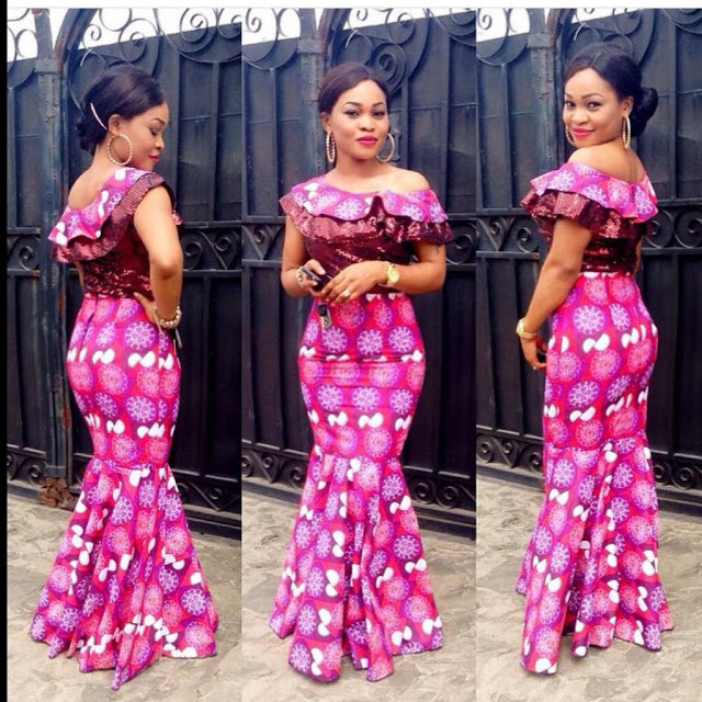 Amazing Wedding Guest Long Gowns Lace/Ankara Inspired. | A Million ...