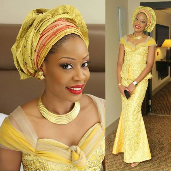 10 beautiful asoebi and ankara styles-lace-amillionstyles