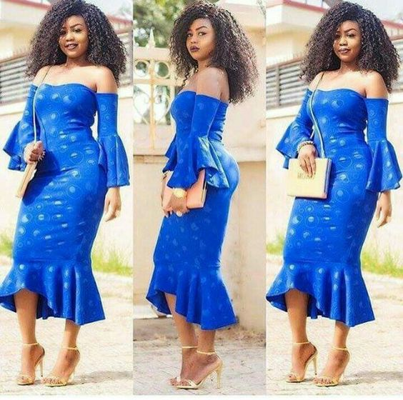 18bc1aa4ea5e Long off shoulder dress with cape like front We Are Serving These  Fitted-Flared Ankara Styles Dishes Hot!