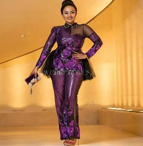 Purple And Peach Lace Asoebi Styles!