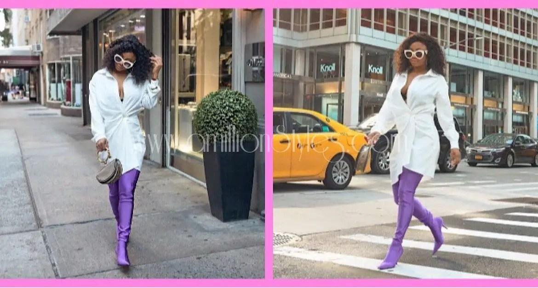Shoe Crush: Toke Makinwa Wearing Beautiful Purple Balenciaga Boots