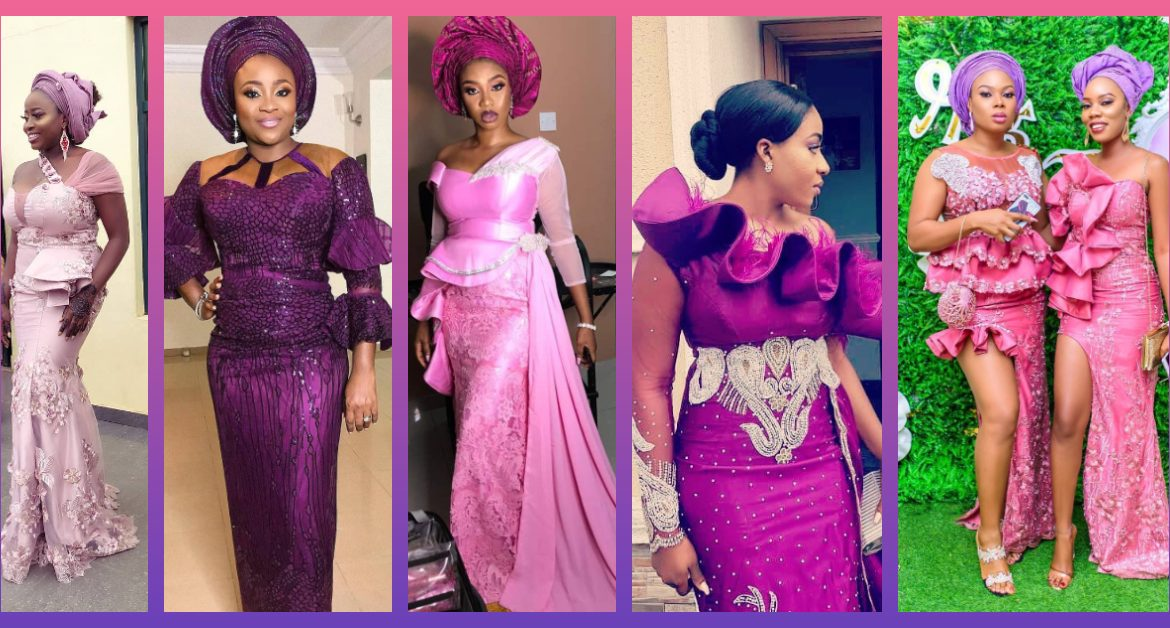 Purple, Pink Lace Asoebi Styles