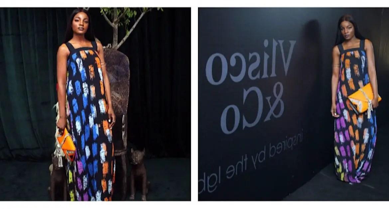 Seyi Shay Glows As She Rocks Multi Colored Maxi Dress