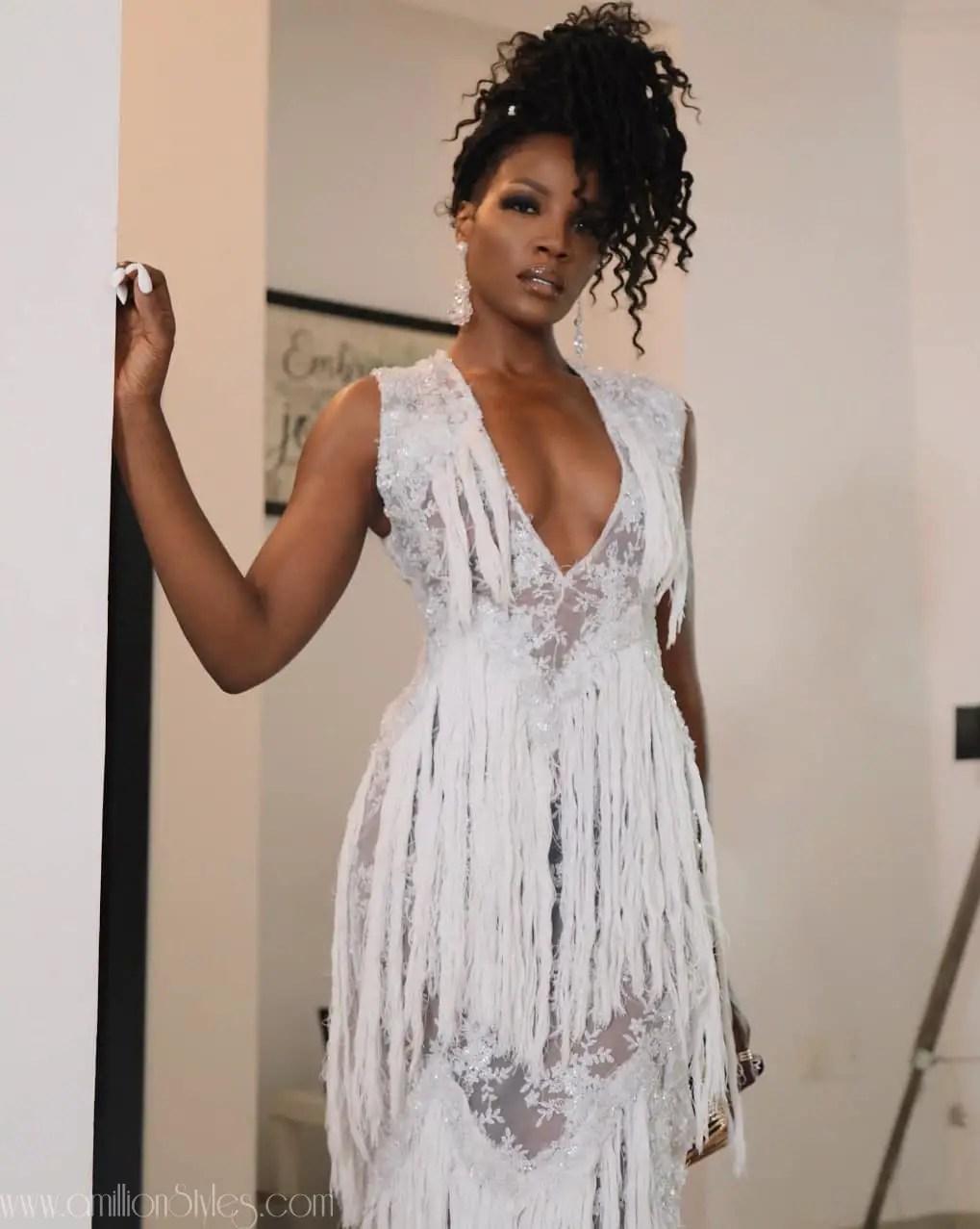 Seyi Shay Looked Sensational In This Fruche Handfrayed Aroura Dress