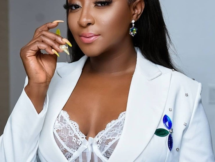 Ini Edo Is Spicy In Embellished White Suit By Julyet Peters