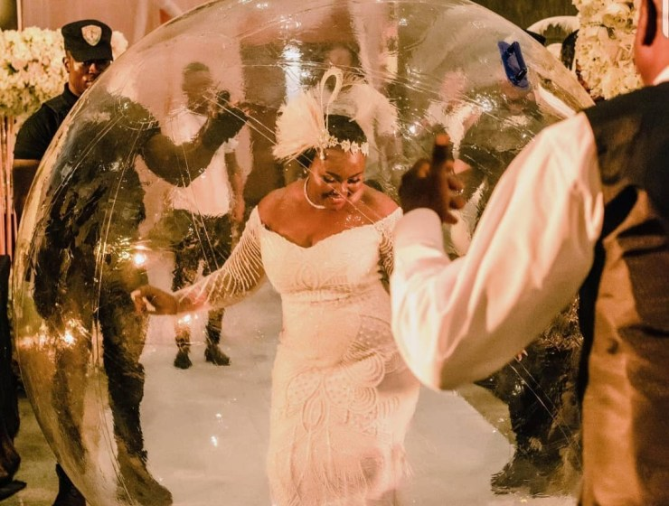 See This Bride-In-A-Bubble Grand Entrance At Wedding Reception!