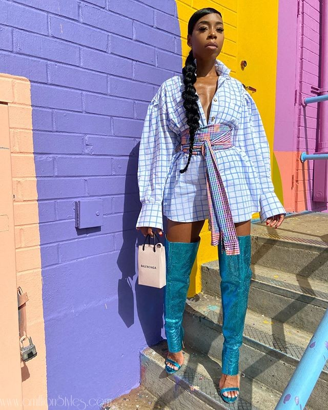 Zamar Lewis Gets An A+ In This Belted Shirt Dress
