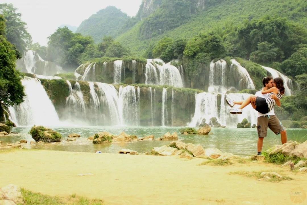#worldkissproject at Ban Gioc waterfall