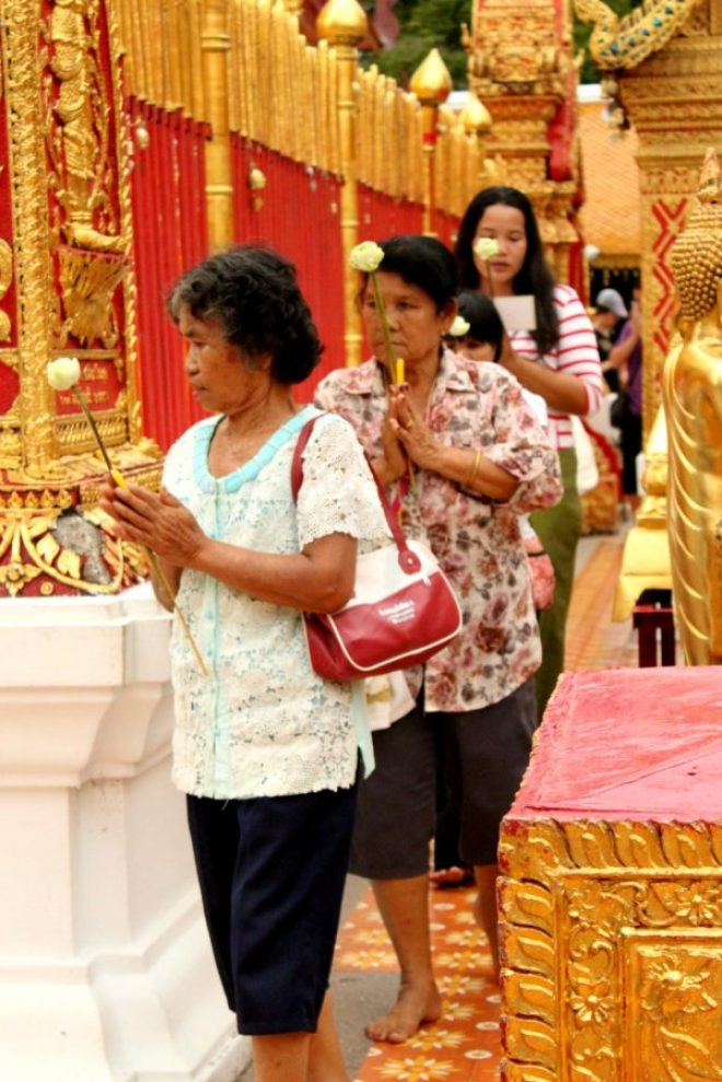 Prayers at Wat Phra That Doi Suthep temple