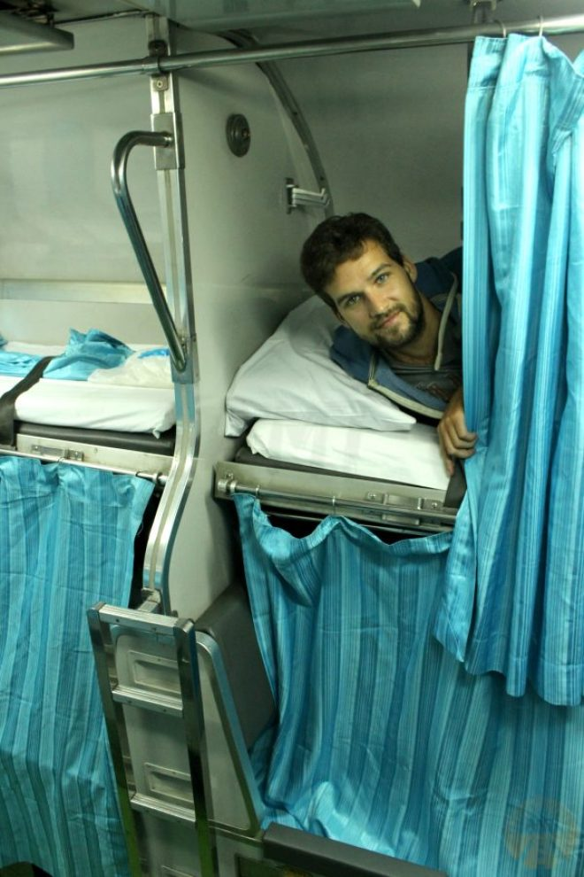 Our berth on the sleeper train from Chiang Mai to Ayutthaya
