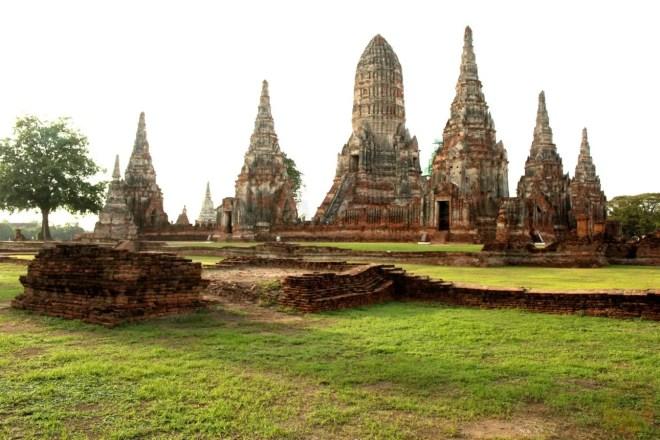 Enjoying deserted Wat Chai Watthanaram at dawn