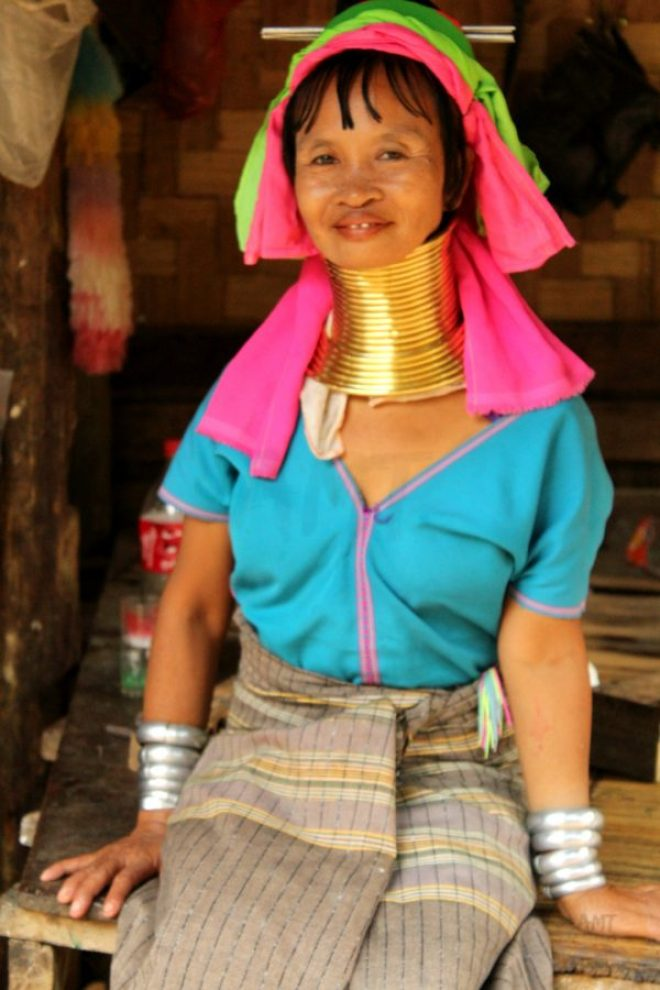 In these Burma tribes the women wear big rings to their neck