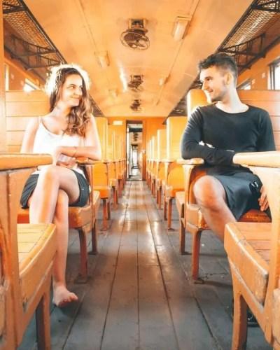 3rd class seat Bridge on River Kwai train bangkok thailand