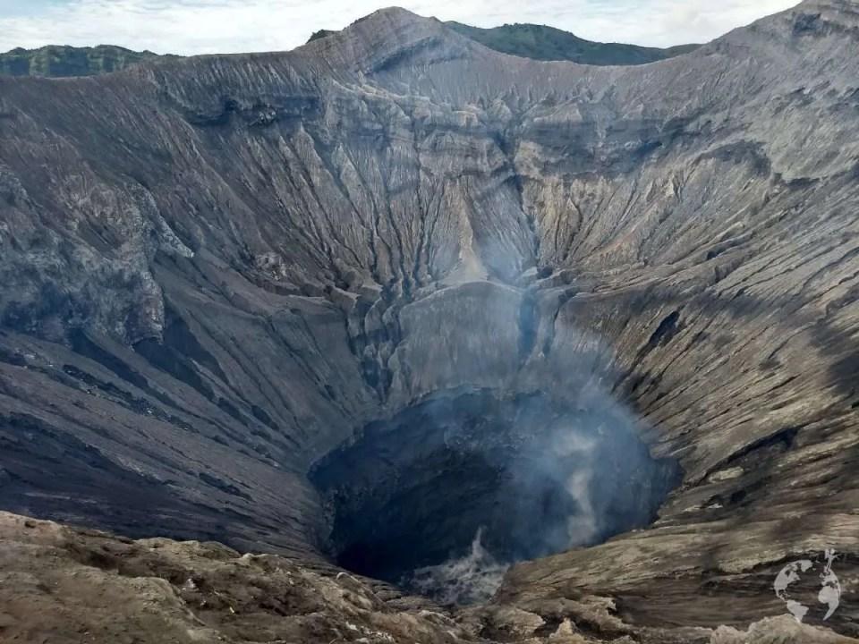 Mt. Bromo active volcano caldera crater rim sunrise