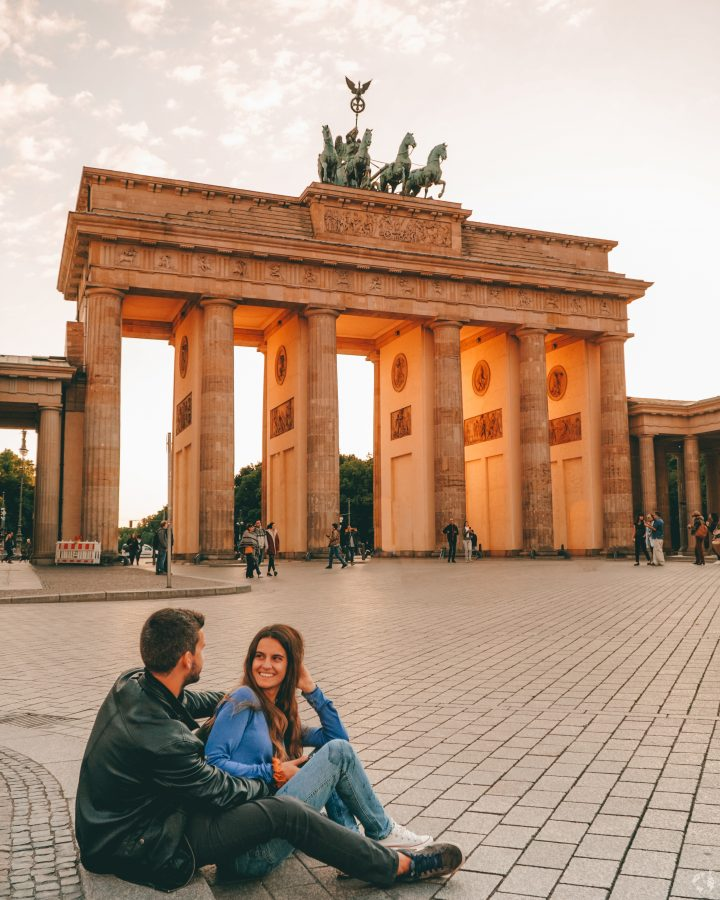 Sunset or sunrise brandenburger tor