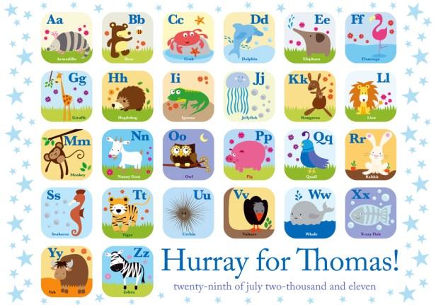 Alphabet Print Blue