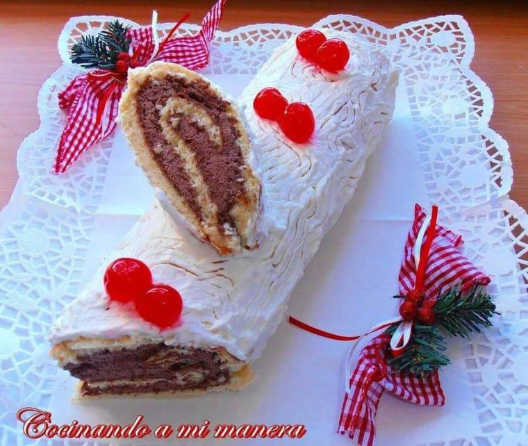 tronco blanco de navidad especial aperitivos y postres