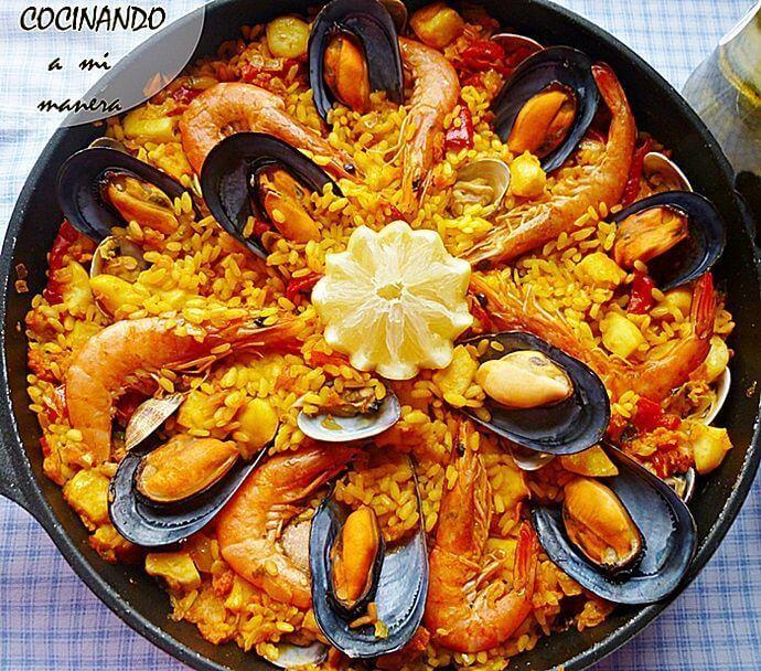 Paella de marisco receta paso a paso - Como cocinar paella ...