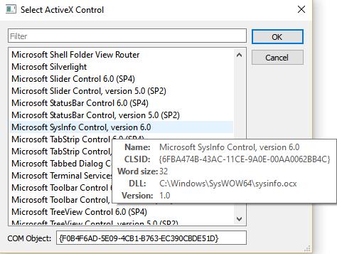 List ActiveX Controls