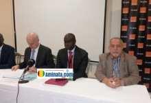 Alioune N'diaye, Bruno Muttling, Brelotte Bâ et Kalil Aboukhalil lors de la conférence de d'Orange Guinée