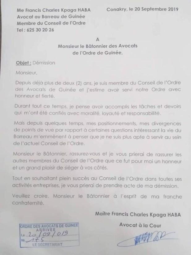 Lettre de démission avocat Guinéen