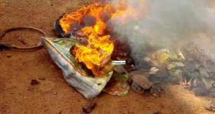 Des pneus brûlés lors d'une violente manifestation contre le 3e mandat