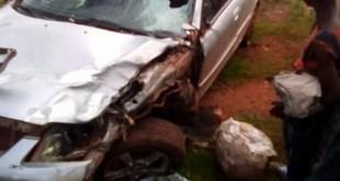 La voiture accidentée à Labé