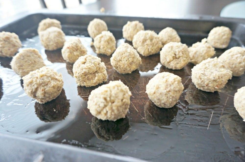 vegan meatballs ready for oven