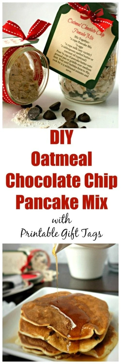 Oatmeal Chocolate Chip Pancake Mix with Printable Gift Tags: Skip the store bought, processed boxed mixes, and make your own delicious Oatmeal Chocolate Chip Pancake Mix made with NESTLÉ® chocolate chips. Includes printable gift tags with instructions, as these make the sweetest gifts to give. #HolidayRemix