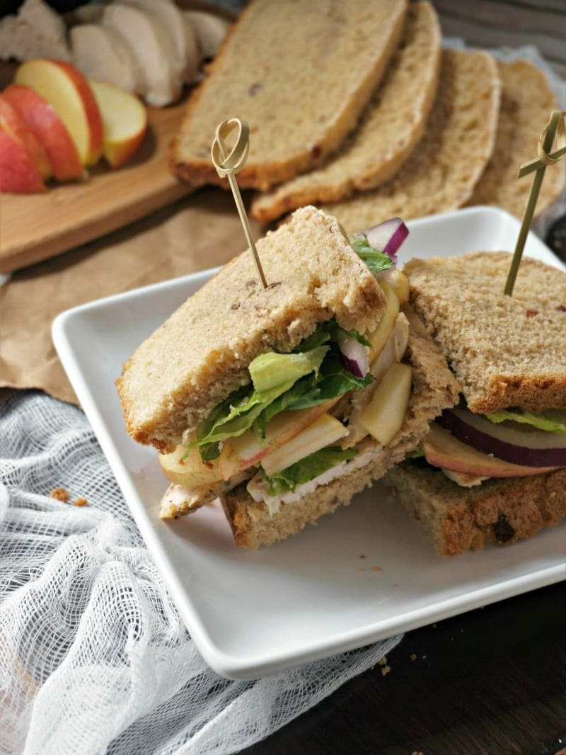 Copycat Panera Roasted Turkey, Apple, and Cheddar Sandwich: Slices of roasted turkey, sweet apples, and sharp cheddar cheese are piled high on homemade cranberry walnut bread with a tangy honey mustard.
