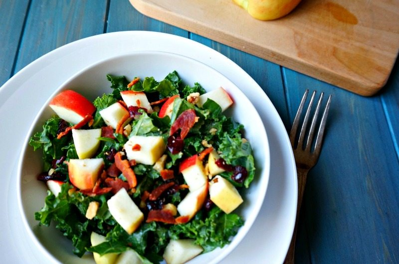 Cranberry Apple Bacon Kale Salad