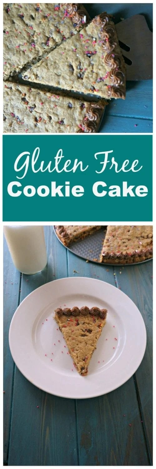 Gluten Free Cookie Cake: An incredible, gluten free version of a cookie cake that is made with basic ingredients--no special flours or baking mixes needed here.