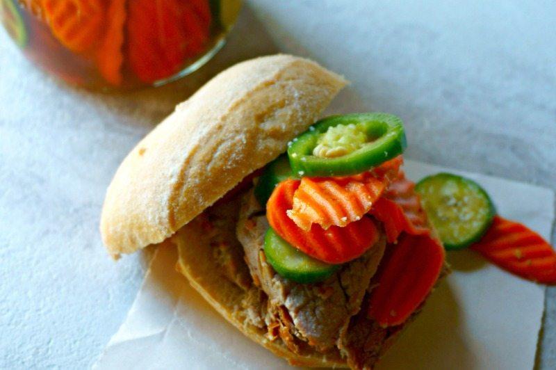 Pork Tenderloin Sandwich with pickled veggies
