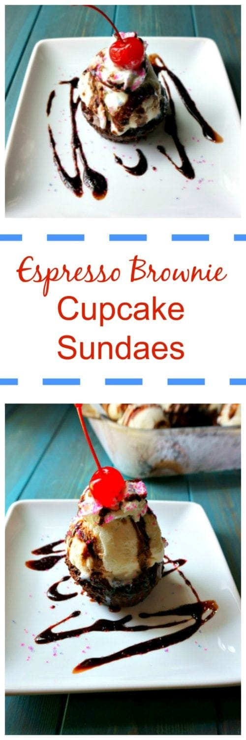 Espresso Brownie Cupcake Sundaes: Rich, fudgy chocolate is enhanced and deepened with espresso and then baked up as brownie cupcakes. Served with a scoop of ice cream and chocolate sauce--these cupcakes are the BEST way to celebrate any occasion.