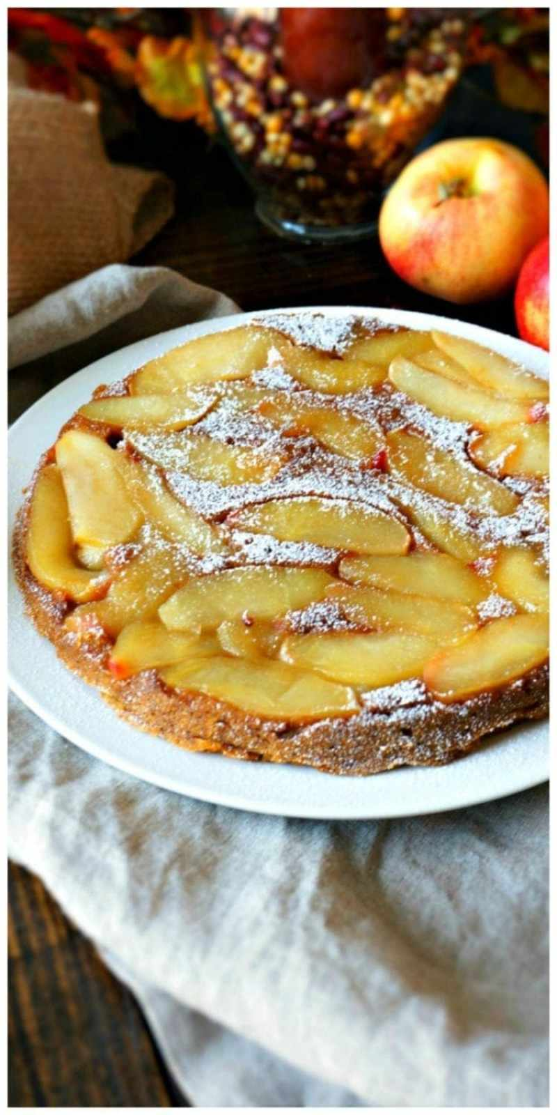 Pumpkin Apple Upside Down Cake: A moist maple pumpkin cake is the base for displaying caramelized apples--creating an incredible marriage of two classic fall flavors.